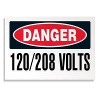 Voltage Warning Labels - Danger 120/208 Volts