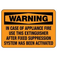 Warning: In Case Of Appliance Fire Use This Extinguisher Sign