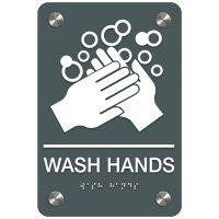 Wash Hands - Premium ADA Facility Signs