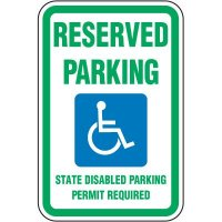 Reserved Parking State Disabled Sign - Washington