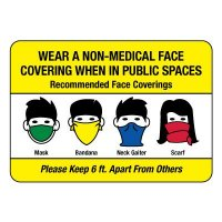 Wear a Non-Medical Face Covering When in Public Sign