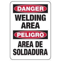 Bilingual Danger Welding Area Safety Sign