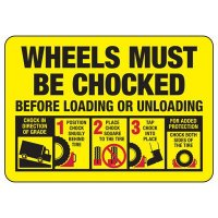 Wheels Must Be Chocked Graphic Sign