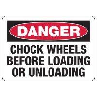 Danger Chock Wheels Safety Sign