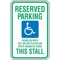 Reserved Parking Vet Or Dis Sign