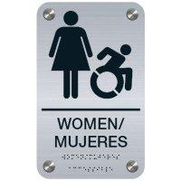 Women Bilingual (Dynamic Accessibility) - Premium ADA Restroom Signs