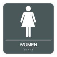 Women - Braille Restroom Signs