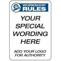 Workshop Rules  - Custom School Safety Signs