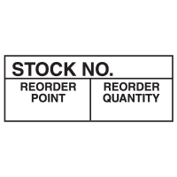 Stock No. Reorder Point Reorder Quantity Write On Labels