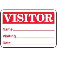 Red Visitor Badges