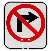 Plastic Traffic Cone Signs- No Right Turn Symbol Arrow Sign V-SNRT