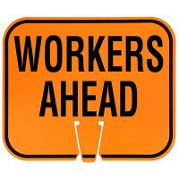 Plastic Traffic Cone Signs- Workers Ahead