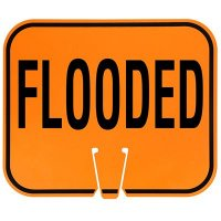 Plastic Traffic Cone Signs- Flooded