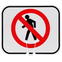 Plastic Traffic Cone Signs- Do Not Walk Symbol
