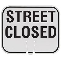 Plastic Traffic Cone Signs- Street Closed
