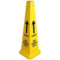 Danger Men Working Above Safety Cones