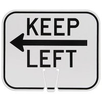 Plastic Traffic Cone Signs- Keep Left With Arrow
