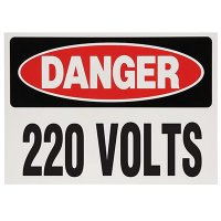 Voltage Warning Labels - Danger 220 Volts