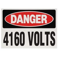 Voltage Warning Labels - Danger 4160 Volts