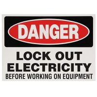 Lock-Out Labels - Danger Lock Out Electricity