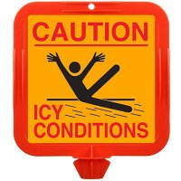 Caution Icy Conditions Safety Cone Sign