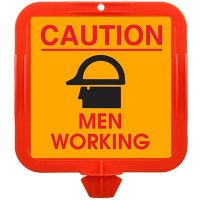 Caution Men Working Safety Cone Sign