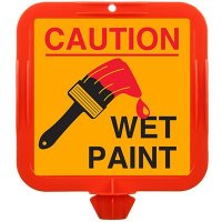 Caution Wet Paint Safety Cone Sign