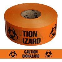 """Biohazard"" Barricade Tape with Symbol - Standard, Black & Orange"