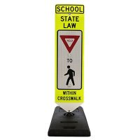 Spring-Back Pedestrian Crossing Signs With Base - School State Law Yield To Pedestrian