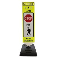 "STOP For Pedestrian - State Law - School Specific - 36"" H x 12"" W Plastic Diamond-Grade Portable Spring-Back Crosswalk Sign"