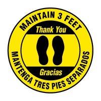 Bilingual Floor Markers - Maintain 3 Feet - Yellow