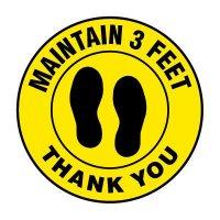 Floor Markers - Maintain 3 Feet - Yellow