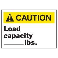 Caution Load Capacity Equipment Decal