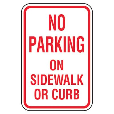No Parking Signs - No Parking On Sidewalk Or Curb