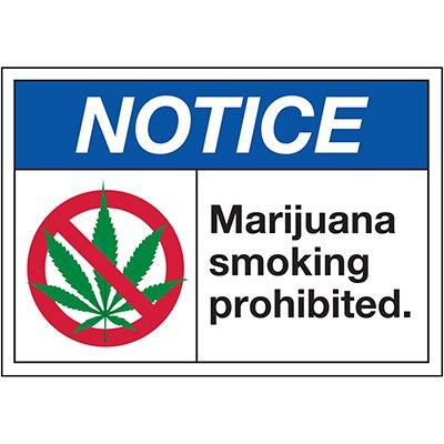 No Smoking Labels - Notice Marijuana Smoking Prohibited