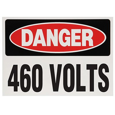 Voltage Warning Labels - Danger 460 Volts
