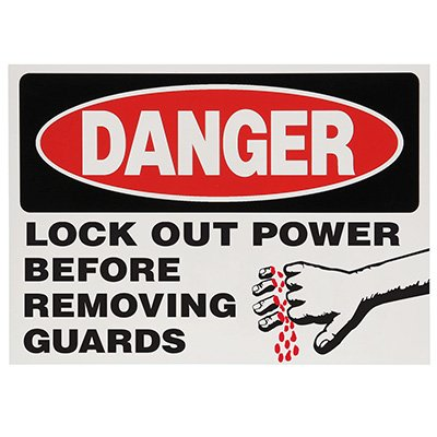 Lock-Out Labels - Danger Lock Out Power Before Removing Guards