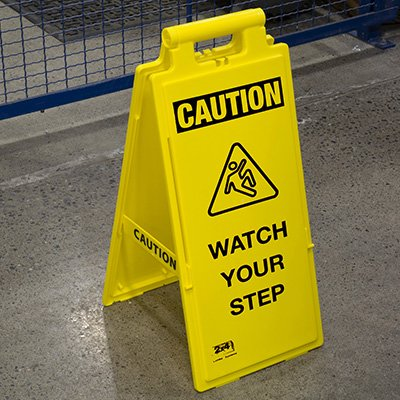 Lockin'arm Floor Stand Signs - Caution Watch Your Step with graphic - Cortina 03-600-38