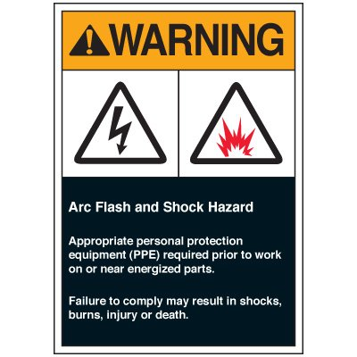 Arc Flash Labels - Warning Arc Flash And Shock Hazard Appropriate Personal Protection Equipment (PPE) Required