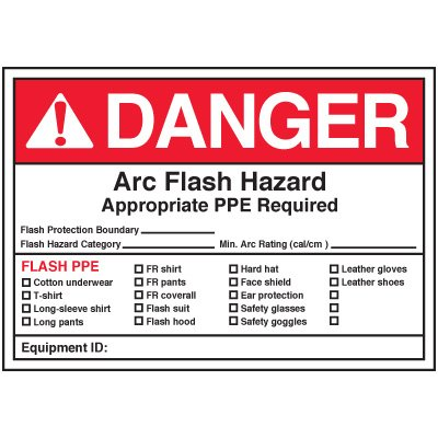Arc Flash Labels - Danger Arc Flash Hazard