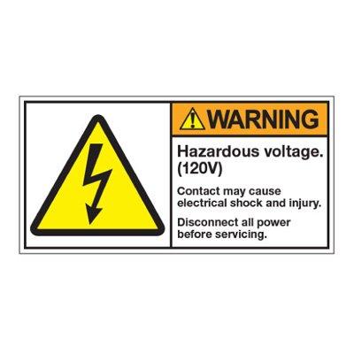ANSI Warning Labels - Warning Hazardous Voltage 120V