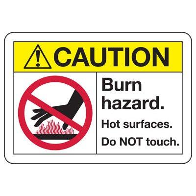 ANSI Safety Signs - Caution Burn Hazard