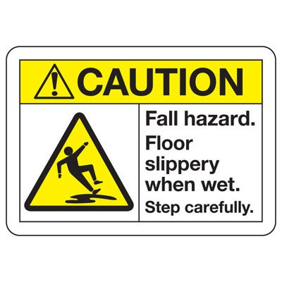 ANSI Safety Signs - Caution Fall Hazard