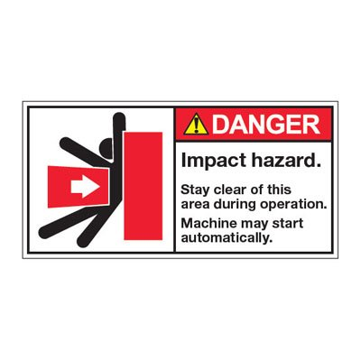 ANSI Warning Labels - Danger Impact Hazard Stay Clear