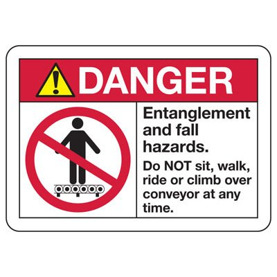 ANSI Safety Signs - Danger Entanglement And Fall Hazards