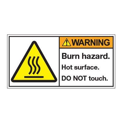 ANSI Warning Labels - Warning Burn Hazard