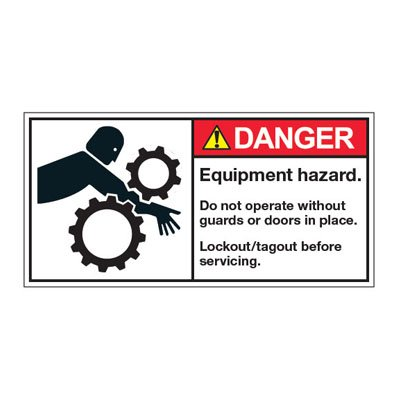 ANSI Warning Labels - Danger Entanglement Hazard