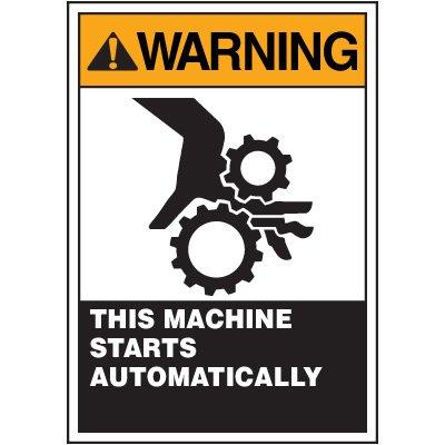 ANSI Warning Labels - Warning This Machine Starts Automatically