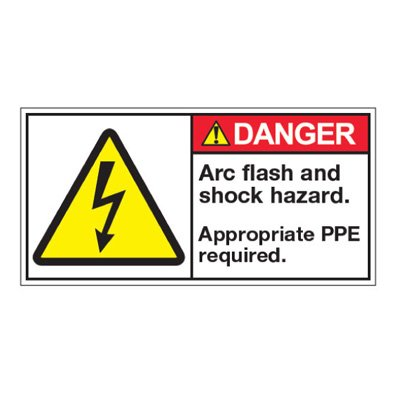 ANSI Warning Labels - Danger Arc Flash And Shock Hazard