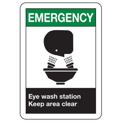 ANSI Signs - Emergency Eye Wash Station Keep Area Clear